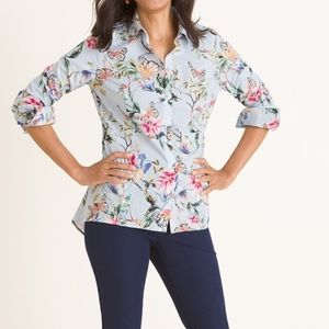 Chico's baby blue butterfly garden print shirt